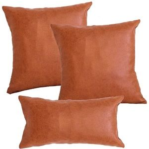 Modern Faux Leather Pillow Cover Set of 3 Brown